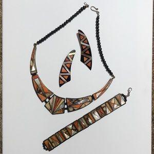 Necklace Earrings Bracelet Set Pearl Orange Black
